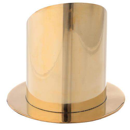 Base per candela 10 cm ottone dorato lucido taglio obliquo 4