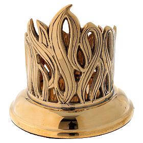 Candleholder with engraved flames golden brass diameter 6 cm s4