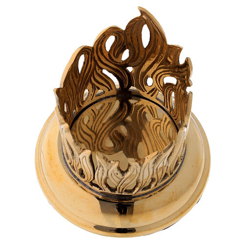 Candleholder with engraved flames golden brass diameter 6 cm 2