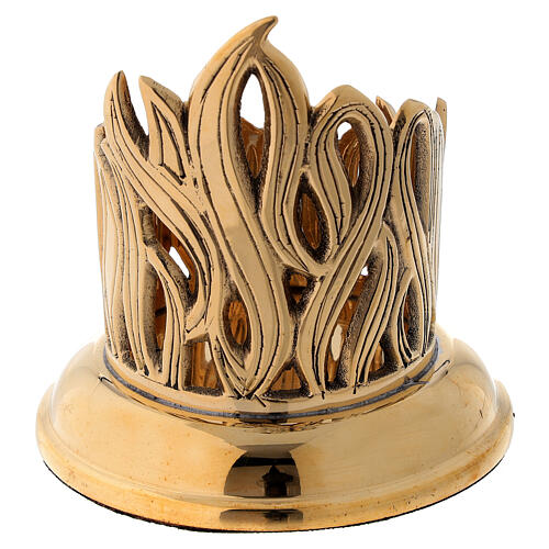 Candleholder with engraved flames golden brass diameter 6 cm 4
