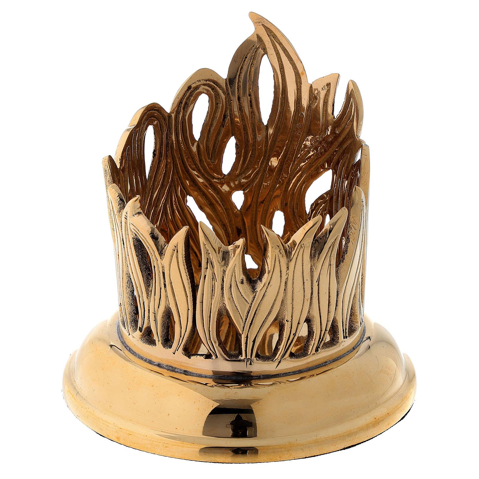 Portavela motivo llamas incisas latón dorado diám 6 cm 4