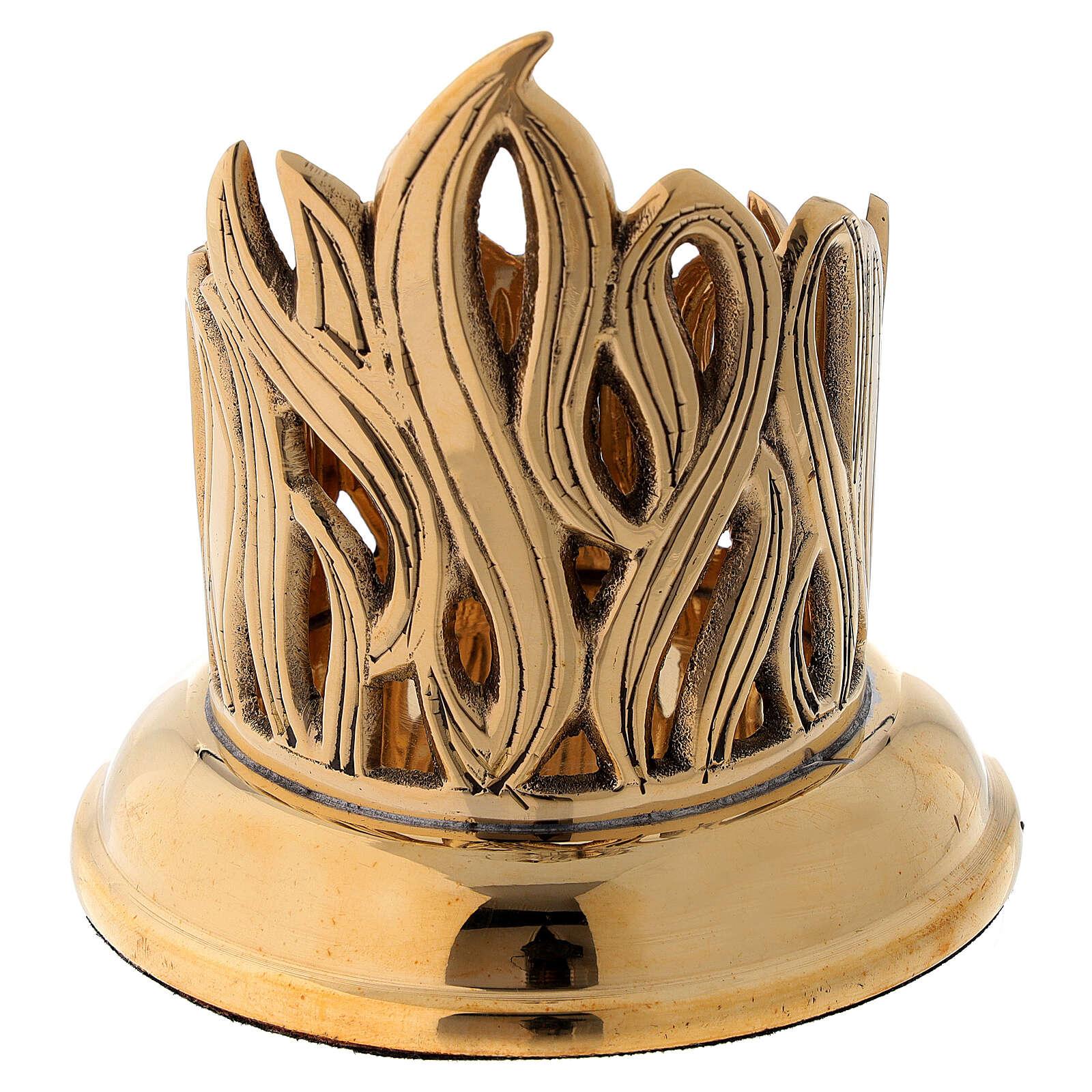 Portacandela disegno fiamme incise ottone dorato diam 6 cm 4