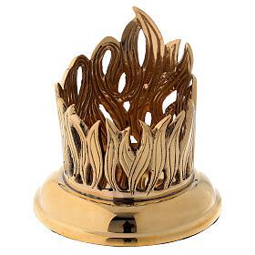 Portacandela disegno fiamme incise ottone dorato diam 6 cm s1