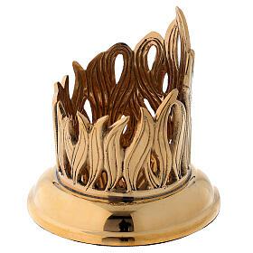 Portacandela disegno fiamme incise ottone dorato diam 6 cm s3