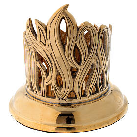Portacandela disegno fiamme incise ottone dorato diam 6 cm s4