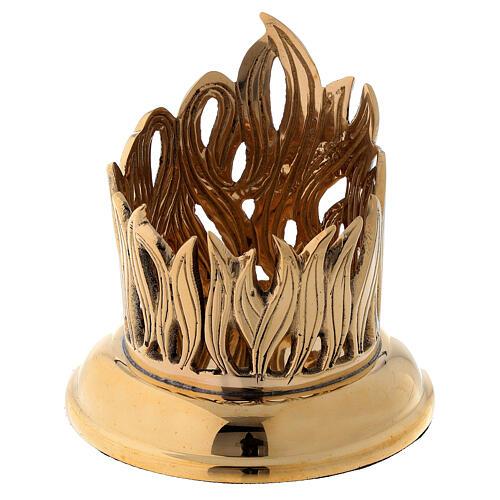 Portacandela disegno fiamme incise ottone dorato diam 6 cm 1