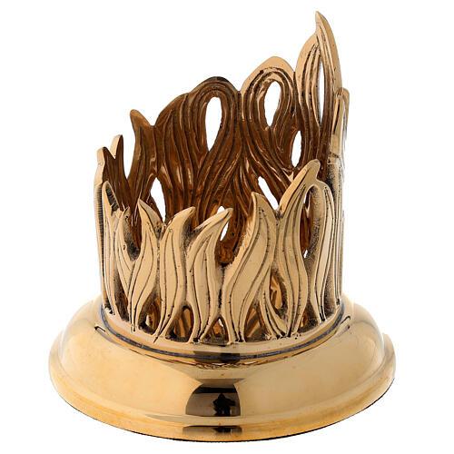 Portacandela disegno fiamme incise ottone dorato diam 6 cm 3