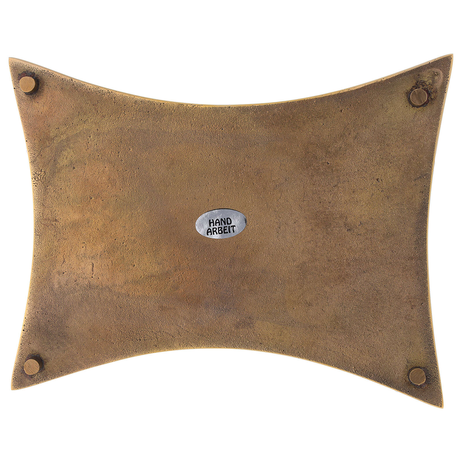 Plate for candles concave sides polished brass 18x14 cm 3