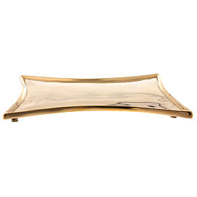 Plate for candles concave sides polished brass 18x14 cm s1