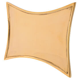Plate for candles concave sides polished brass 18x14 cm s2