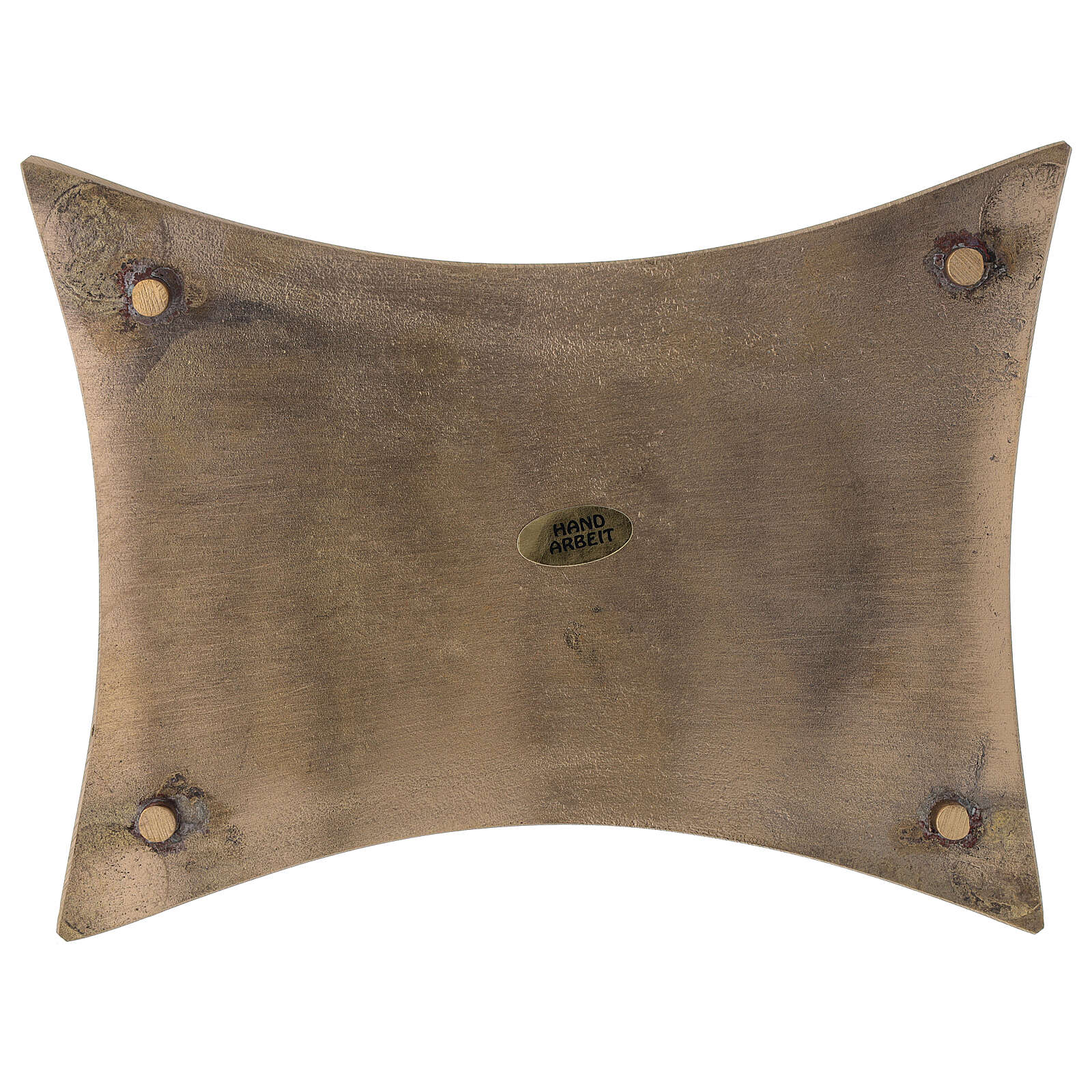 Rectangular concave brass satin-finish 18x14 cm candleholder plate 3