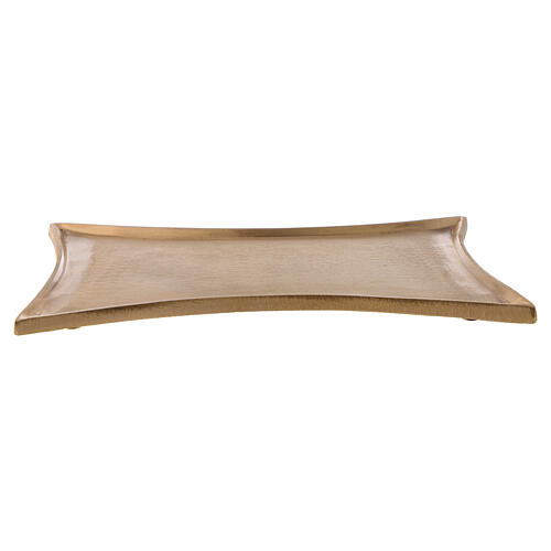 Rectangular concave brass satin-finish 18x14 cm candleholder plate 1