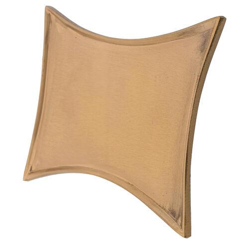 Rectangular concave brass satin-finish 18x14 cm candleholder plate 2