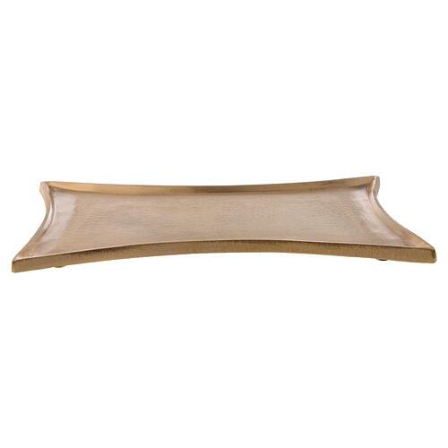 Plato portavela rectangular cóncavo latón satinado 18x14 cm 1