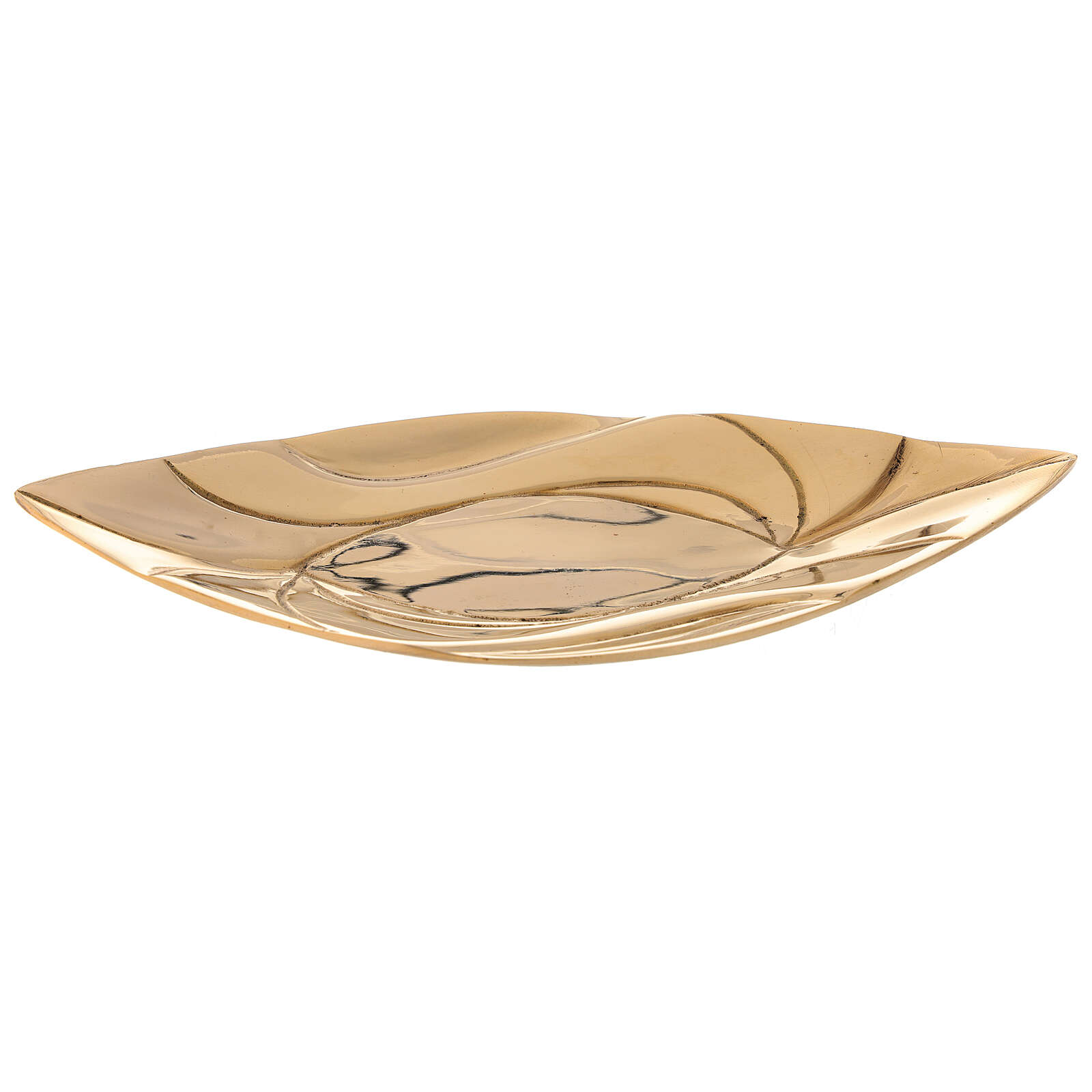 Candle holder plate shiny golden brass leaf candle 9x5.5 cm 3