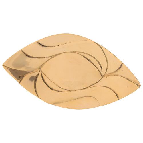 Piatto portacandela foglia ottone dorato lucido candela 9x5,5 cm 2