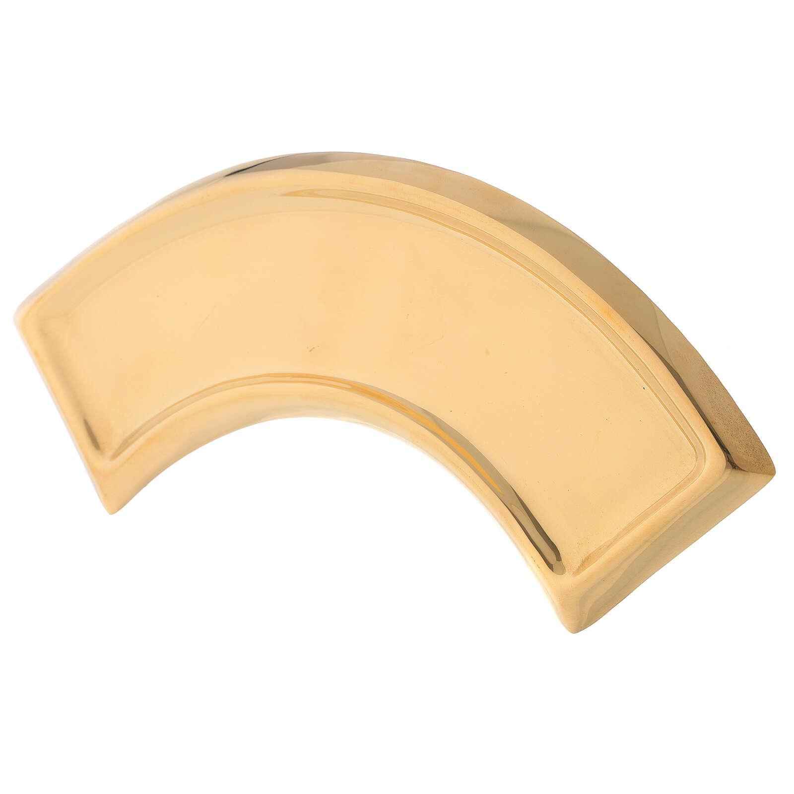 Piatto portacandela ricurvo ottone dorato 30 cm 3