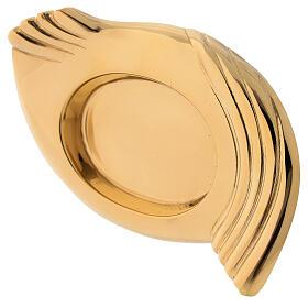 Plato portavela alas latón dorado lúcido vela diám 5 cm s2