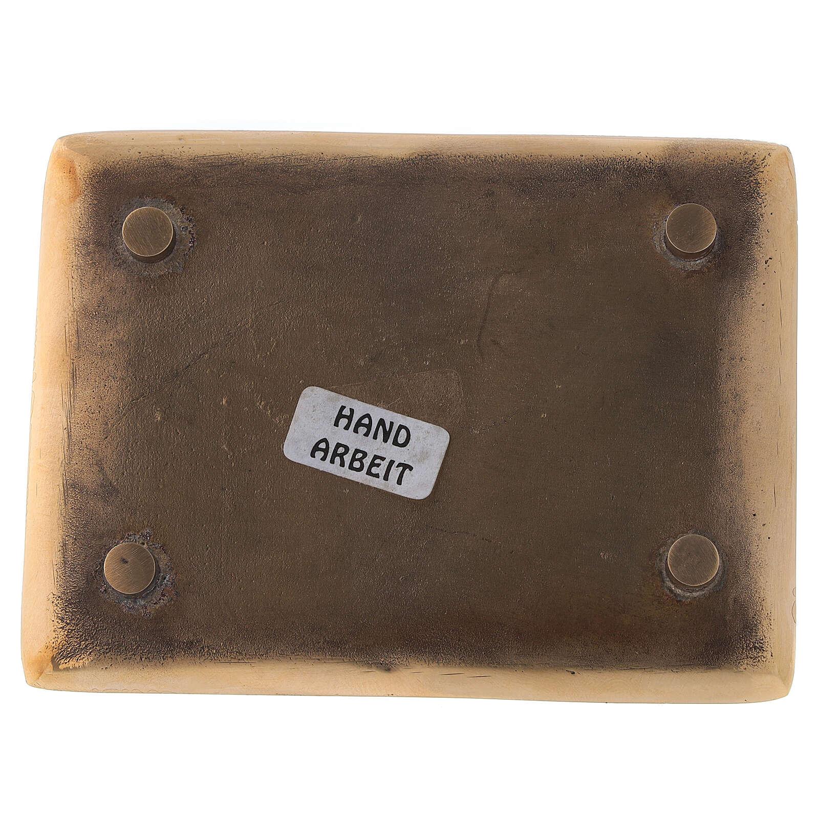 Plato vela latón dorado lúcido rectangular 10x7 cm 3