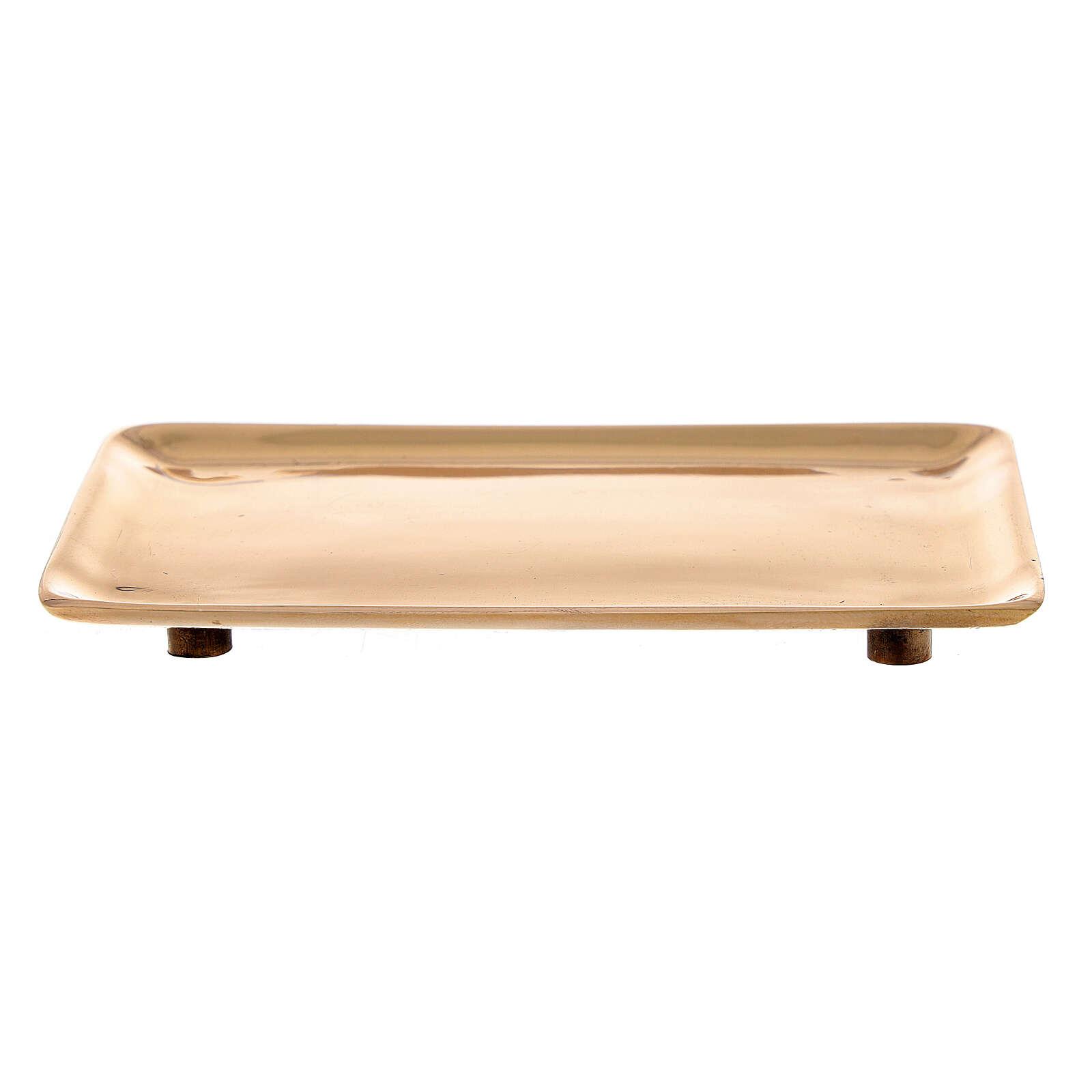 Piatto candela ottone dorato lucido rettangolare 10x7 cm 3