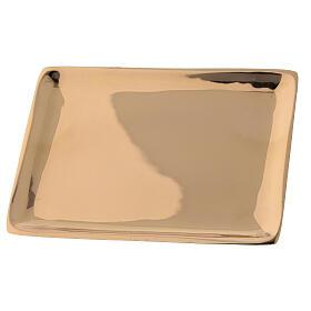 Piatto candela ottone dorato lucido rettangolare 10x7 cm s2