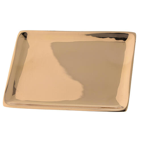 Piatto candela ottone dorato lucido rettangolare 10x7 cm 2
