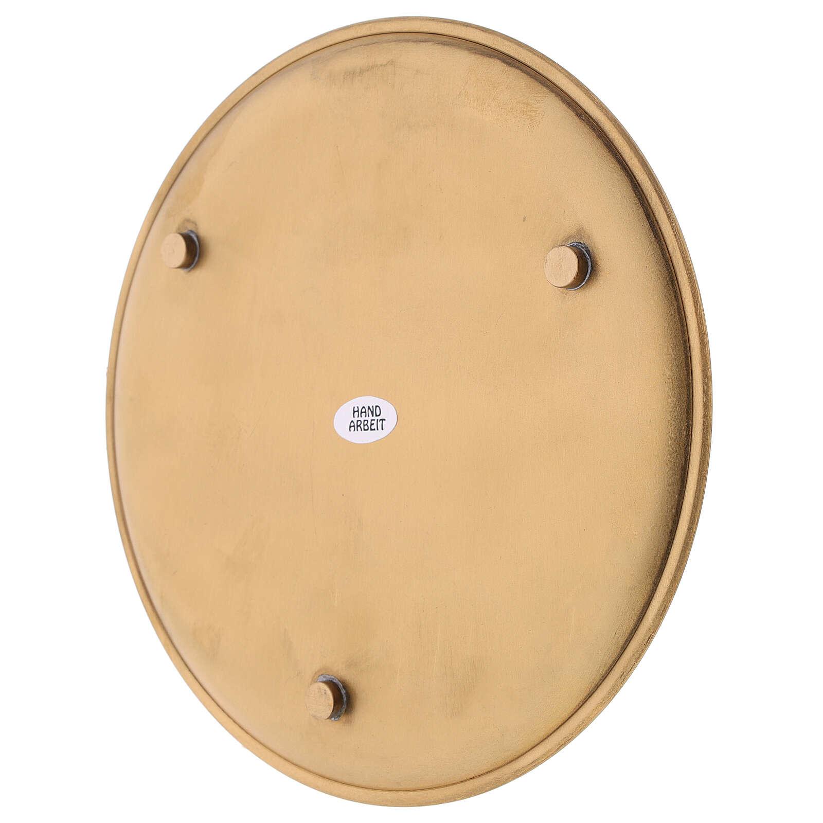 Candle holder plate diameter 19 cm satin golden brass 3