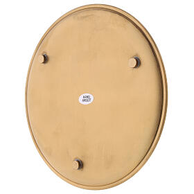 Candle holder plate diameter 19 cm satin golden brass s3
