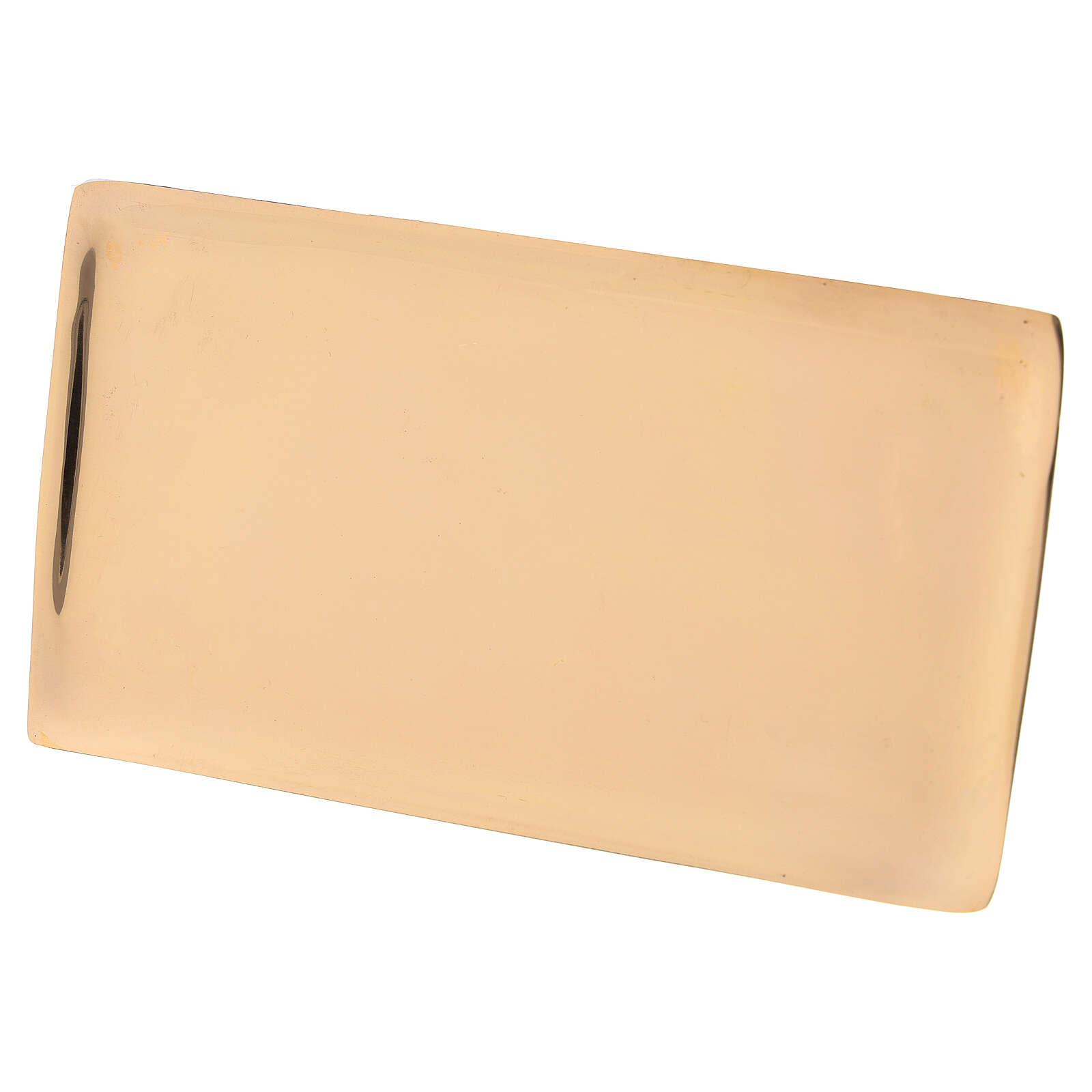 Plato portavela rectangular latón dorado lúcido 17x9 cm 3