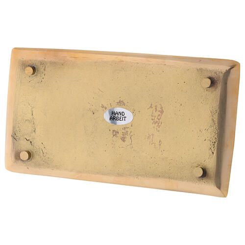 Piatto portacandela rettangolare ottone dorato lucido 17x9 cm 3