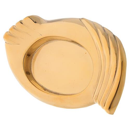 Portavela latón dorado lúcido forma de alas velas 6 cm 2