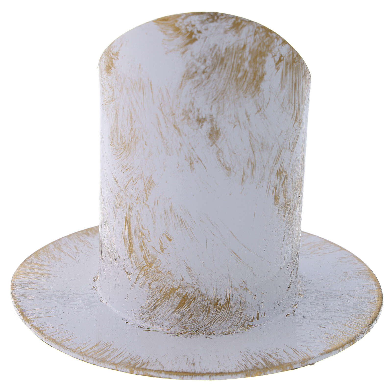 Portavelas corte oblicuo blanco oro shabby chic diám 5 cm 3
