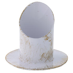 Portavelas corte oblicuo blanco oro shabby chic diám 5 cm s1