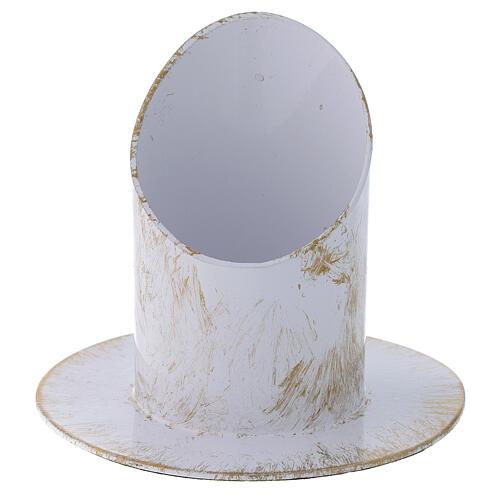 Portavelas corte oblicuo blanco oro shabby chic diám 5 cm 1