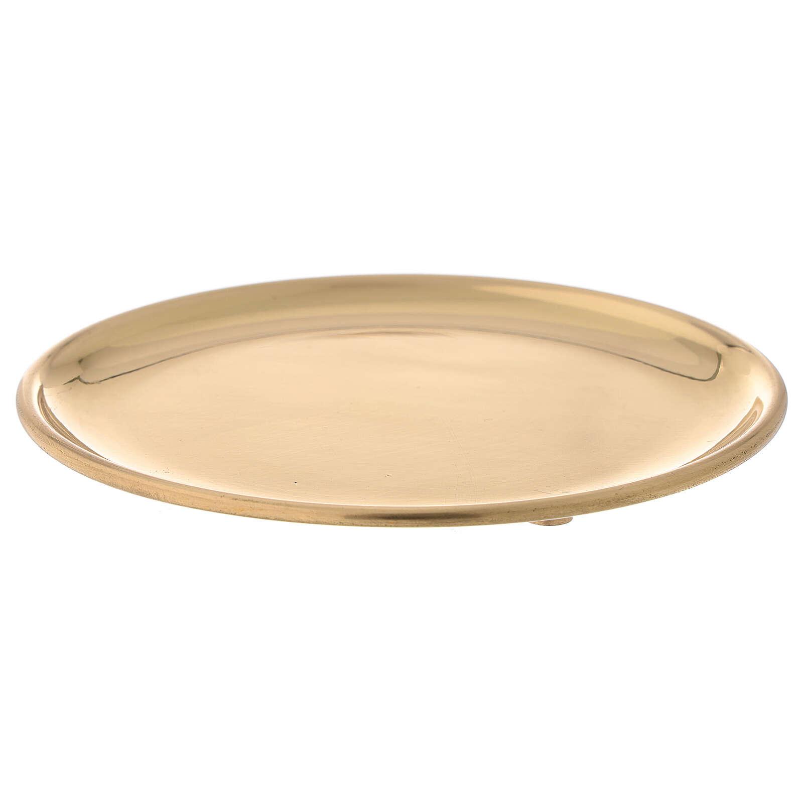 Glossy golden brass plate candles diameter 12 cm 3