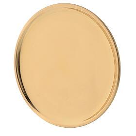 Glossy golden brass plate candles diameter 12 cm s2
