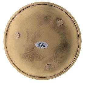 Glossy golden brass plate candles diameter 12 cm s3