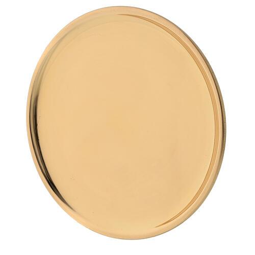 Glossy golden brass plate candles diameter 12 cm 2