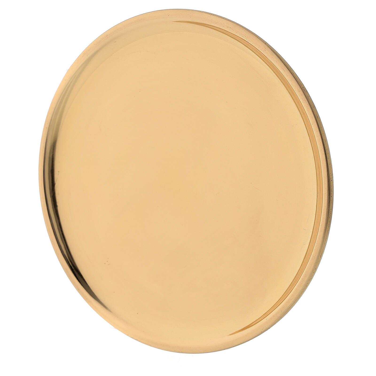 Plato latón dorado lúcido velas diámetro 12 cm 3