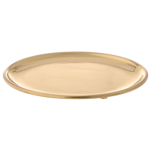 Plato latón dorado lúcido velas diámetro 12 cm 1