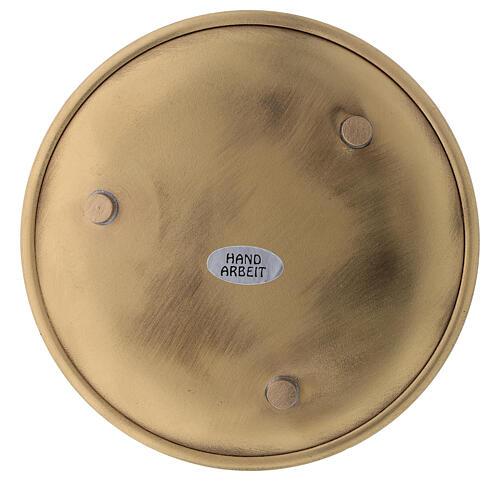 Piatto ottone dorato lucido candele diametro 12 cm 3