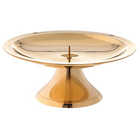 Bougeoir laiton brillant doré 14 cm s1