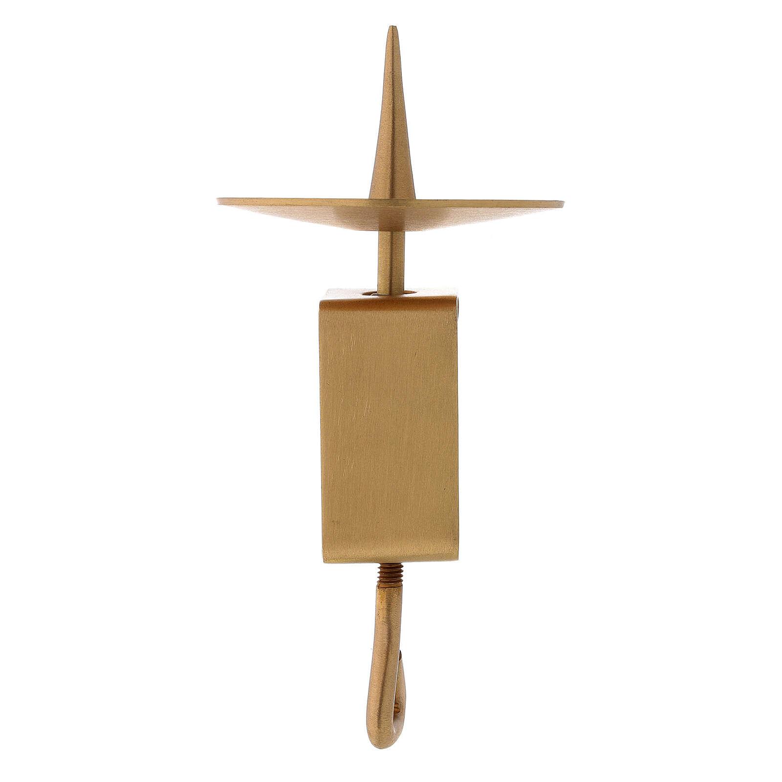 Portavela rectangular latón satinado dorado 10 cm 4
