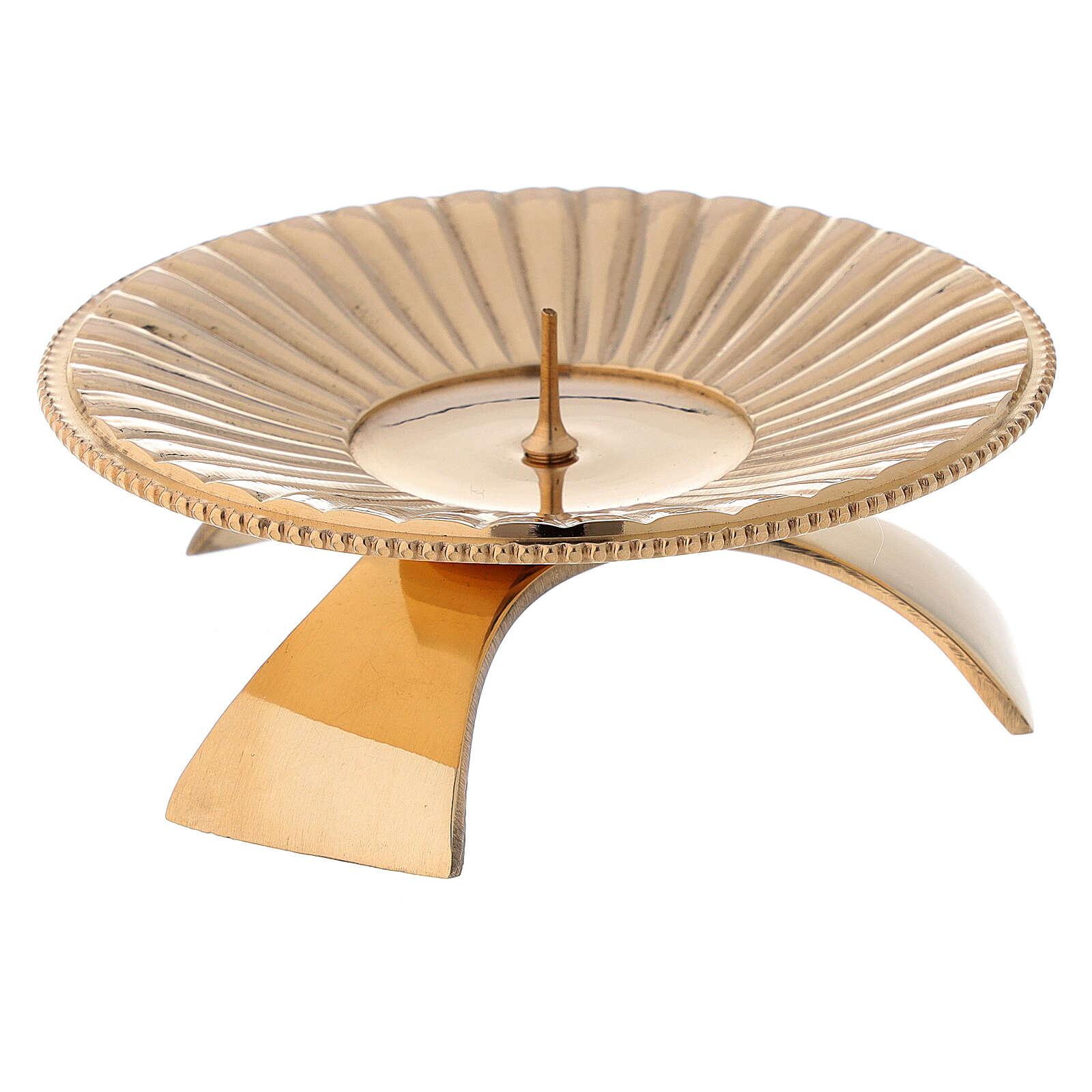 Bougeoir laiton brillant doré décoration à rayures 9 cm 4