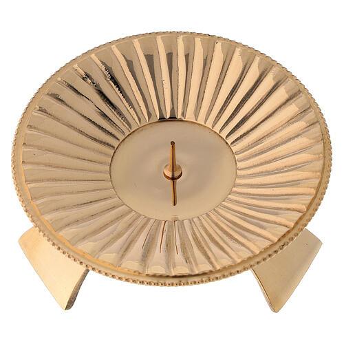 Bougeoir laiton brillant doré décoration à rayures 9 cm 2