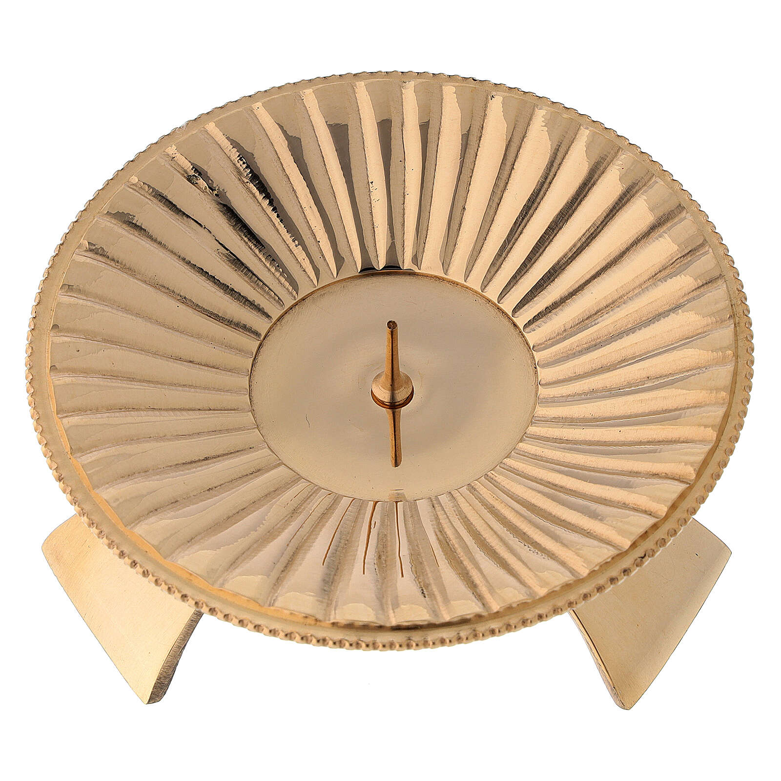 Portacandela ottone lucido dorato decoro a righe 9 cm 4