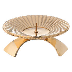 Portacandela ottone lucido dorato decoro a righe 9 cm s1
