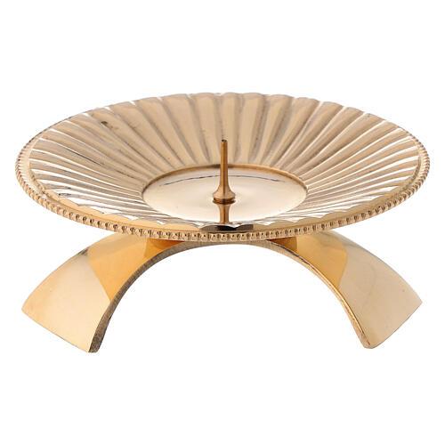 Portacandela ottone lucido dorato decoro a righe 9 cm 1