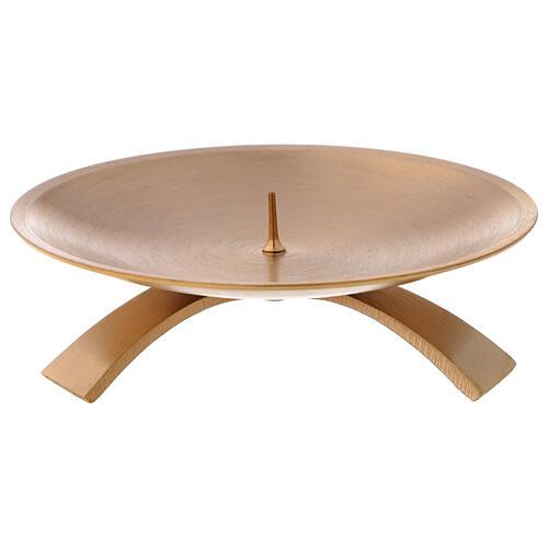 Candleholder 3 feet satin brass 12 cm 1