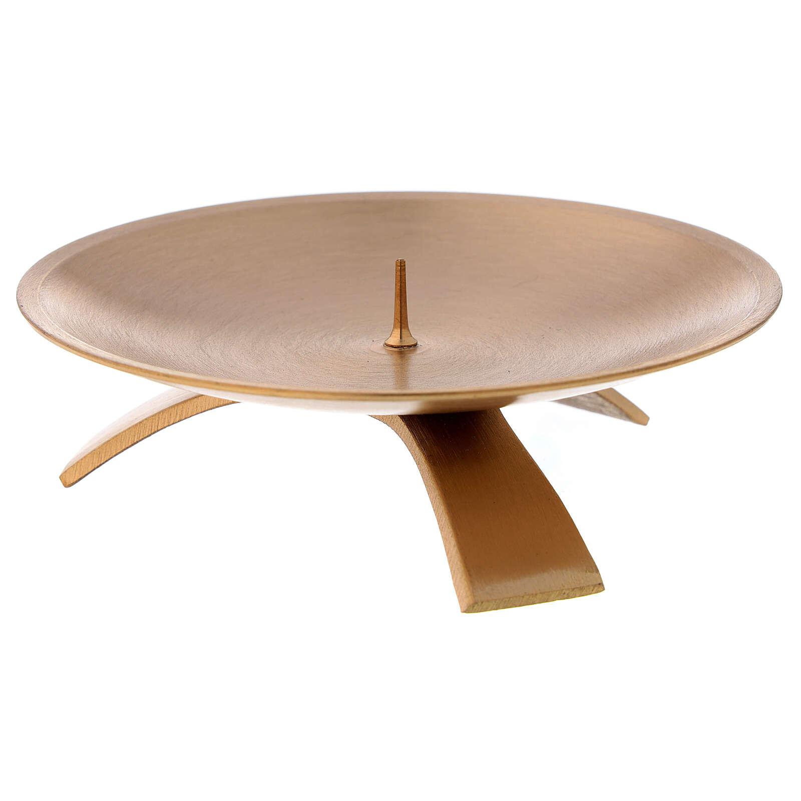 Castiçal 3 pés latão acetinado dourado 12 cm 4